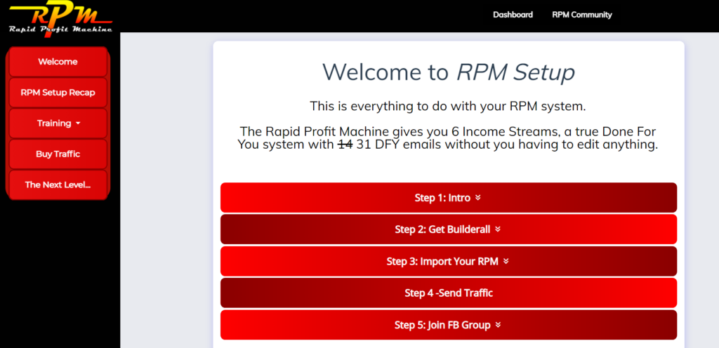 Rapid Profit Machine members' area preview